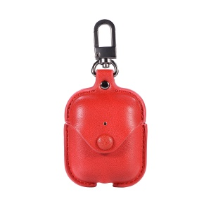 PU Leather Protective Case with Snap Fastener for Apple AirPods Bluetooth Headset Charging Case - Red