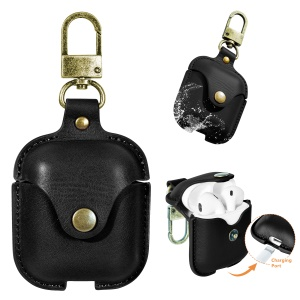Protective PU Leather Case with Keychain for Apple AirPods Charging Case - Black