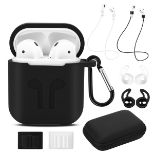 9-in-1 Set for Apple AirPods [Silicone Case + Neck Straps + Earphone Holders + Earbud Covers + Carabiner + Storage Box]