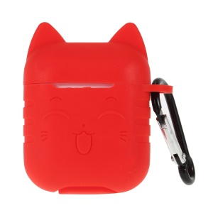 Cat Pattern Silicone Case for Apple AirPods Bluetooth Headset Charging Case - Red