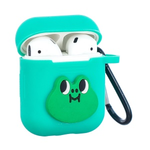 Cartoon Pattern Soft Silicone Case Cover with Carabiner for Apple AirPods Charging Case - Green / Frog