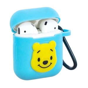 Cartoon Pattern Silicone Protective Case with Carabiner for Apple AirPods Charging Case - Blue / Bear
