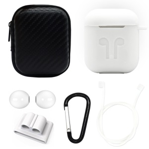 For Apple AirPods 6-in-1 Accessories Silicone Case + Carbon Fiber Case + Neck Strap + Earphone Holder + Earbud Cover + Hook - White