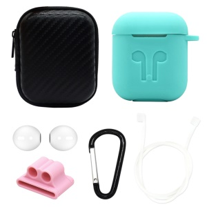 For Apple AirPods 6-in-1 Accessories Silicone Case + Carbon Fiber Case + Neck Strap + Earphone Holder + Earbud Cover + Hook - Cyan