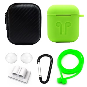 For Apple AirPods 6-in-1 Accessories Silicone Case + Carbon Fiber Case + Neck Strap + Earphone Holder + Earbud Cover + Hook - Green