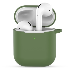 Silicone Case with Keychain for Apple AirPods with Charging Case (2019) - Dark Green