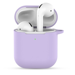 Silicone Case with Keychain for Apple AirPods with Charging Case (2019) - Light Purple