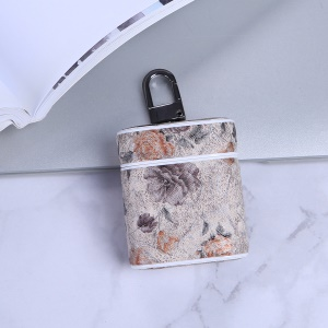 Flower Series Leather Wireless Earphones Case for Apple AirPods with Charging Case (2016) - Beige
