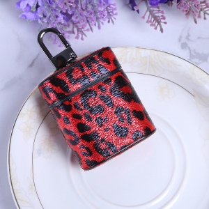 Leopard Series Leather Wireless Earphones Case for Apple AirPods with Charging Case (2016) - Red
