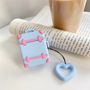Liquid Silicone Protective Case Cartoon Soft Earphone Case for AirPods with Charging Case (2016)/AirPods with Charging Case (2019) - Blue