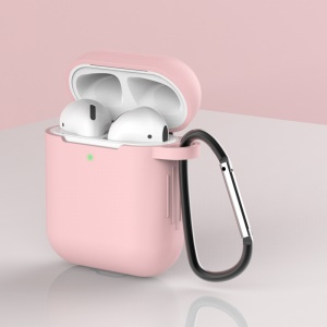 Silicone Protective Case with Buckle for AirPods with Charging Case (2016)/with Charging Case (2019) - Light Pink
