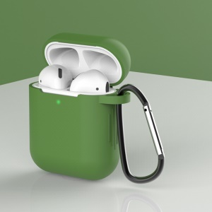 Silicone Protective Case with Buckle for AirPods with Charging Case (2016)/with Charging Case (2019) - Green