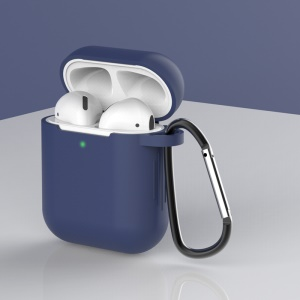 Silicone Protective Case with Buckle for AirPods with Charging Case (2016)/with Charging Case (2019) - Dark Blue