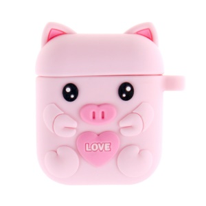 Silicone Cartoon Pig Earphone Cover Box for Apple AirPods for Wireless Charging Case (2019)/Charging Case (2019)/Charging Case (2016) - Deep Pink