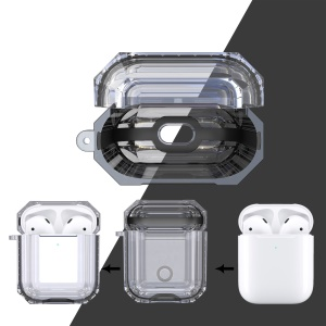 Bi-color TPU AirPods Protective Case with Strap for Apple AirPods with Wireless Charging Case (2019) - Black