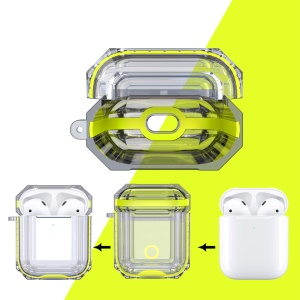 Bi-color TPU AirPods Protective Case with Strap for Apple AirPods with Wireless Charging Case (2019) - Yellow