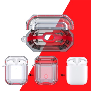 Bi-color TPU AirPods Case with Strap for Apple AirPods with Charging Case (2019) / with Charging Case (2016) - Red