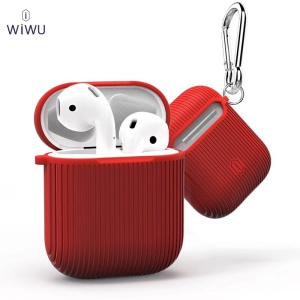 WiWU I Shell Vertical Strips Texture TPU AirPods Box for Apple AirPods with Charging Case (2016) - Red