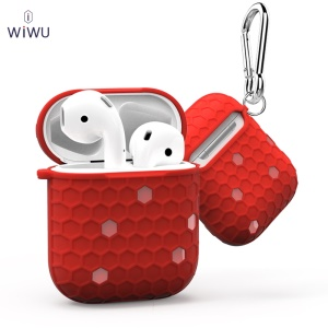 WiWU I Shell Honeycomb Texture TPU AirPods Box for Apple AirPods with Charging Case (2016) - Red