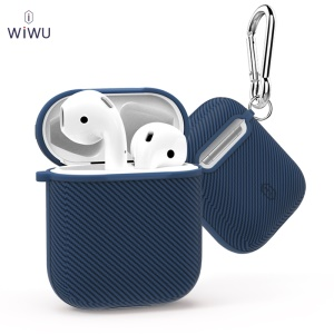 WiWU I Shell Carbon Texture TPU AirPods Box for Apple AirPods with Charging Case (2016) - Blue