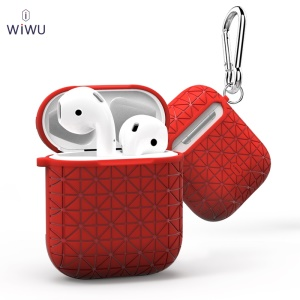 WiWU I Shell Diamond Texture TPU Protective Cover for Apple AirPods with Charging Case (2016) - Red