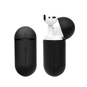 Shockproof Litchi Texture Genuine Leather Case Cover for Apple AirPods with Charging Case (2016)/AirPods with Wireless Charging Case (2019) - Black