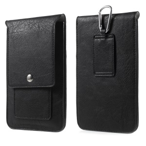 Universal 6.3-inch Dual-layer Leather Pouch Case with Belt Loop for iPhone XS / 8 Plus Etc, Size: 17 x 10.5cm - Black