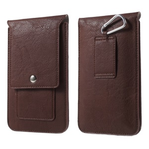 Universal 6.3-inch Dual-layer Leather Pouch with Belt Loop for iPhone XS / 8 Plus Etc, Size: 17 x 10.5cm - Coffee
