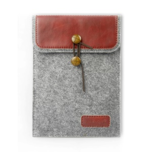 J.M.SHOW Envelope PU Leather Wool Felt Sleeve Bag for iPad Air 2 / Galaxy Tab A 9.7, Size: 267 x 201mm - Red