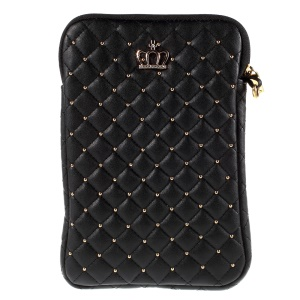 Diamante Crown Diagonal Grid Leather Pouch Case for iPad mini 4 / Galaxy Tab A 8.0, Size: 230 x 155mm - Black