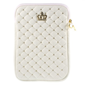 Diamante Crown Diagonal Grid Leather Pouch Cover for iPad mini 4 / Galaxy Tab A 8.0, Size: 230 x 155mm - White