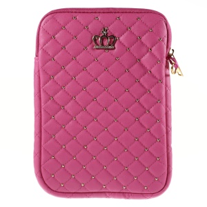 Diamante Crown Diagonal Grid Leather Sleeve Pouch for iPad mini 4 / Galaxy Tab A 8.0, Size: 230 x 155mm - Rose