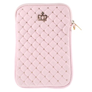 Diamante Crown Diagonal Grid Leather Sleeve Pouch for iPad mini 4 / Galaxy Tab A 8.0, Size: 230 x 155mm - Pink