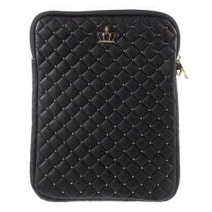 Diamante Crown Diagonal Grid Leather Pouch Case for iPad Air 2 / Galaxy Tab E 9.6, Size: 275 x 215mm - Black