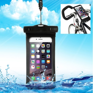 IPX8 Waterproof Bicycle Handlebar Mount Holder Pouch for iPhone 6 6s, Size 14.5 x 7cm - Black