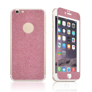 Slim Glittery Powder Front Tempered Glass Screen Protector + Back Sticker for iPhone 6 Plus / 6s Plus - Pink