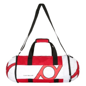 Foldable Football Shape Sports Bag Portable Duffel Bag with Shoulder Strap - Red / White