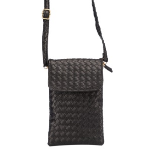 Woven Pattern PU Leather Pouch Shoulder Bag for iPhone 6 Plus Galaxy S6 Edge Etc, Size: 10 x 18cm - Black
