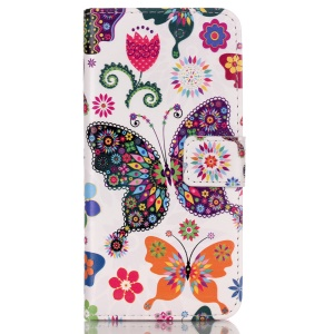 For iPhone SE 5s 5 Embossed Pattern Leatherette Cover Case - Abstract Butterflies and Flowers