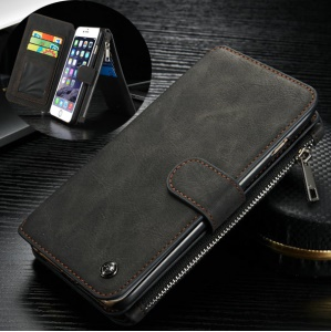 CASEME 14 Slots Wallet Detachable 2-in-1 for iPhone 6s 6 Genuine Split Leather Case - Black