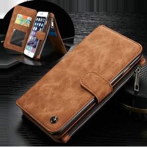 CASEME 14 Slots Wallet Destacável 2-em-1 Genuine Split Leather Cover para iPhone 6s 6-Castanho