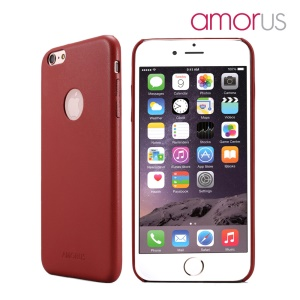 AMORUS Slim Leather Skin Plastic Hard Phone Case for iPhone 6s / 6 4.7 inch - Red