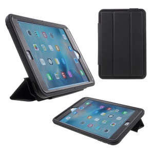 For iPad mini 4 Plastic + TPU Hybrid Case with Tri-fold Smart Leather Front Cover - Black