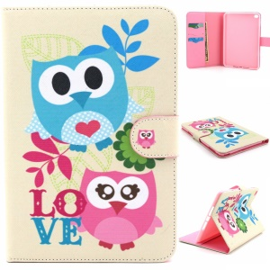 Stand Card Holder Leather Flip Cover para iPad Mini 4 - amor corujas