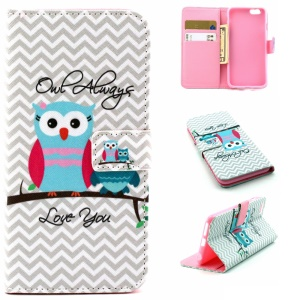 Leather Wallet Cover Case for iPhone 6s 6 4.7 inch - Owl and Chevron