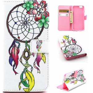 Leather Card Holder Cover Case for iPhone 6s 6 4.7 inch - Dream Catcher Decorated with Flower
