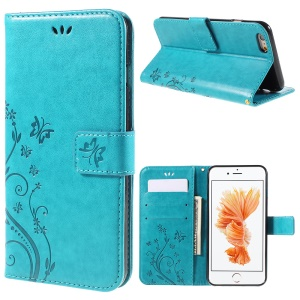 Butterfly Leather Wallet Stand Case for iPhone 6s Plus 6 Plus - Blue