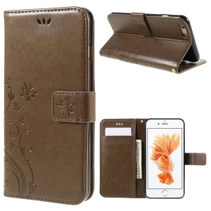 Butterfly Leather Wallet Stand Case for iPhone 6s Plus 6 Plus - Coffee