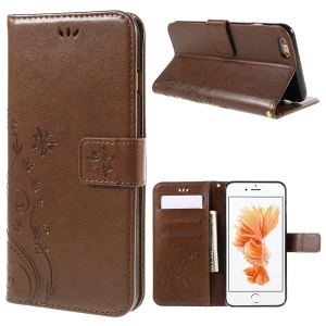 Butterfly Leather Wallet Stand Case for iPhone 6s Plus 6 Plus - Brown
