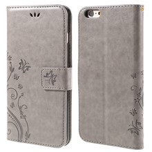 Butterfly Leather Wallet Stand Cover for iPhone 6s 6 4.7 inch - Grey